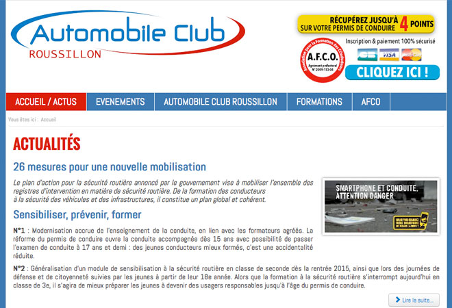 Automobile Club Roussillon - Web